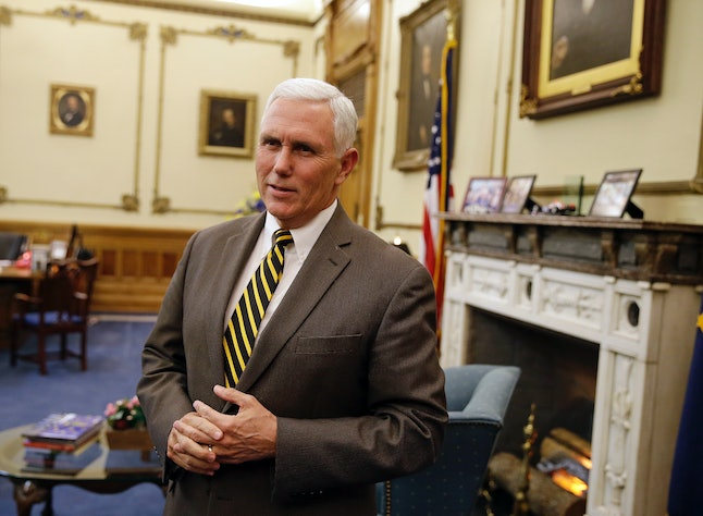 Mike Pence in 2015, shortly after he directed Indiana state agencies to not allocate funds to help resettle refugees. A recent court ruling said the power to decide whether refugees can be resettled lies with the president, not a governor.