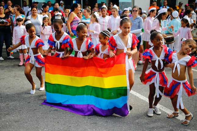 People take part in the LGBT pride parade in Havana