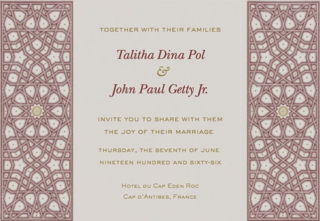 A gorgeously designed digital wedding invite sent via Paperless Post.