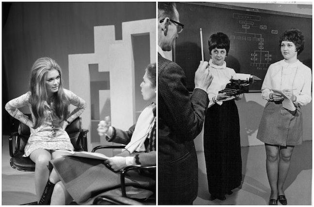 Gloria Steinem in 1970 and secretaries in 1970.
