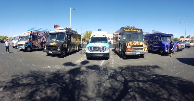 Taco trucks are being lined up in front of the Trump International Hotel in Las Vegas, Nevada.