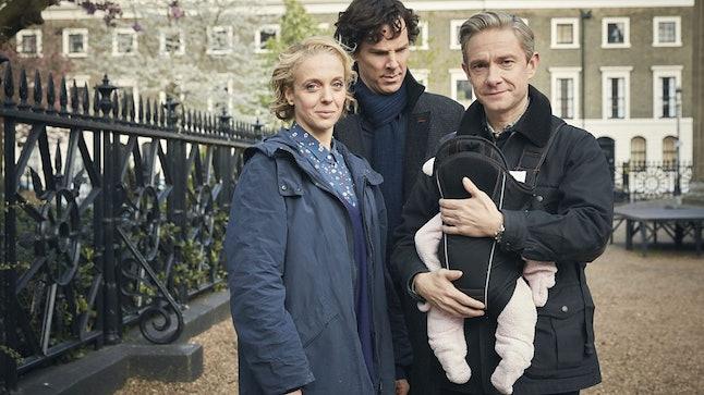 Mary Watson (Amanda Abbington), Sherlock Holmes (Benedict Cumberbatch) and John Watson (Martin Freeman) for 'Sherlock' season four.