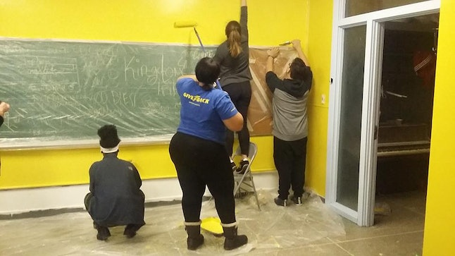 Youth volunteers painting and decorating the Detroit Phoenix Center before its opening in January.