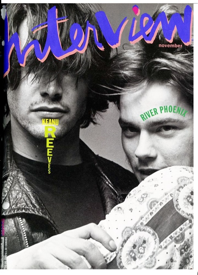 Keanu Reeves and River Phoenix on the cover of 'Interview'