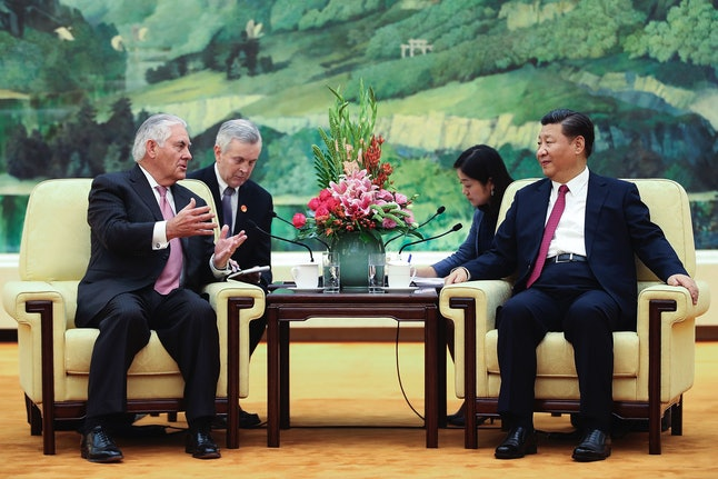 U.S. Secretary of State Rex Tillerson meets with China's President Xi Jinping at the Great Hall of the People on Sept. 30 in Beijing.