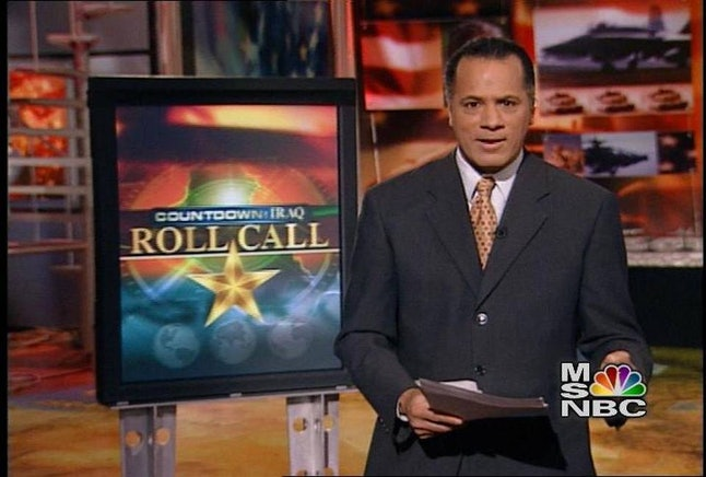 Lester Holt on MSNBC covering the run-up to the Iraq War.