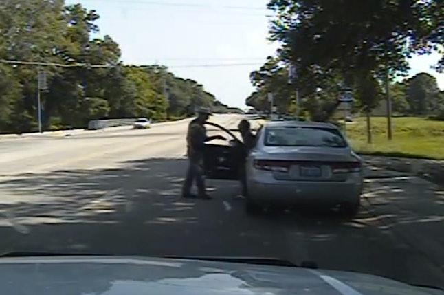Dashcam video still from Sandra Bland's traffic stop