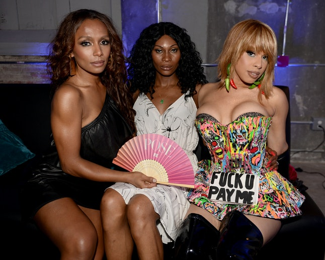 Janet Mock, Dominique Jackson and Hailie Sahar attend the FX 'Pose' Ball in Harlem on June 2, 2018 in New York City.