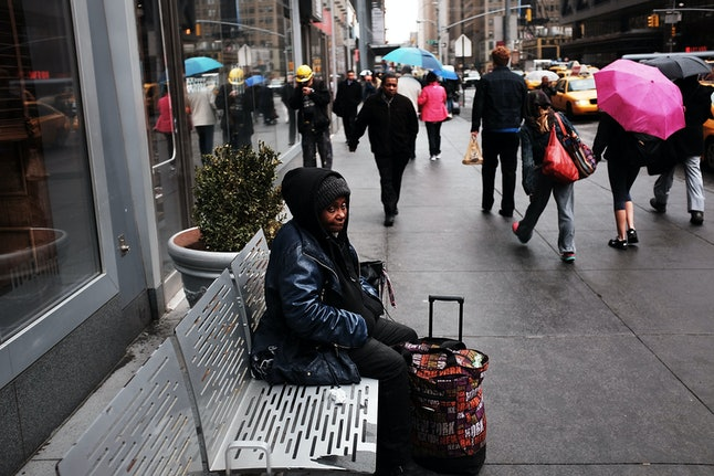 A homeless woman in America