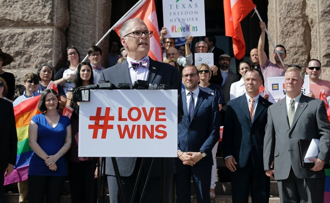 Jim Obergefell speaks outside the Texas Capitol building, following the Supreme Court ruling.