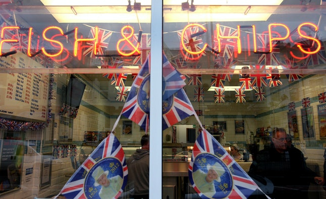 A fish and chip shop created a display in honor of Queen Elizabeth II's diamond jubilee in South Shields, England, in 2012.