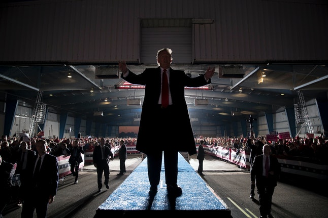 President Donald Trump leaves an Illinois rally Oct. 27.