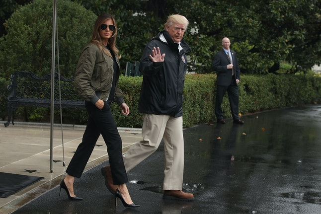 Melania Trump and Donald Trump leaving the White House