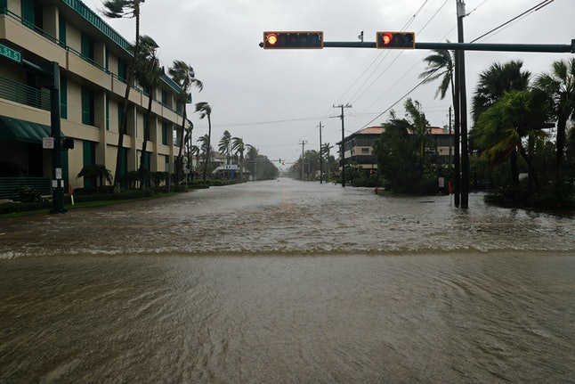 Streets flooded in the Naples, Florida, business district as Hurricane Irma made landfall with the mainland.