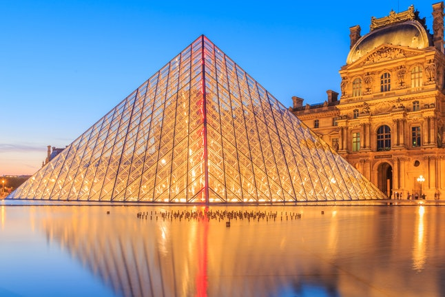 The glass pyramid at the Louvre in Paris
