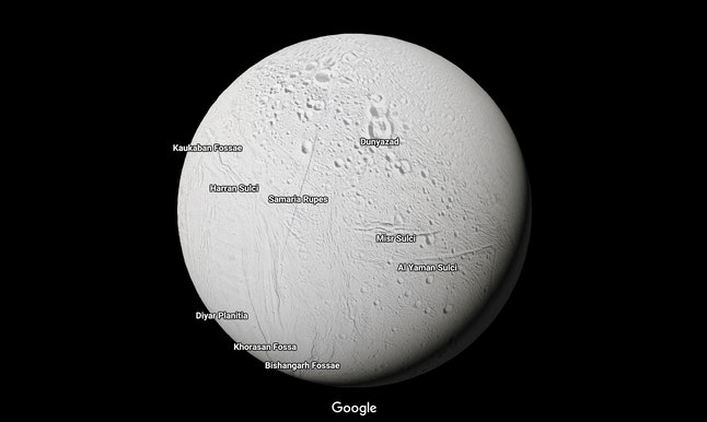 Enceladus, Saturn's moon with an underground ocean, in Google Maps