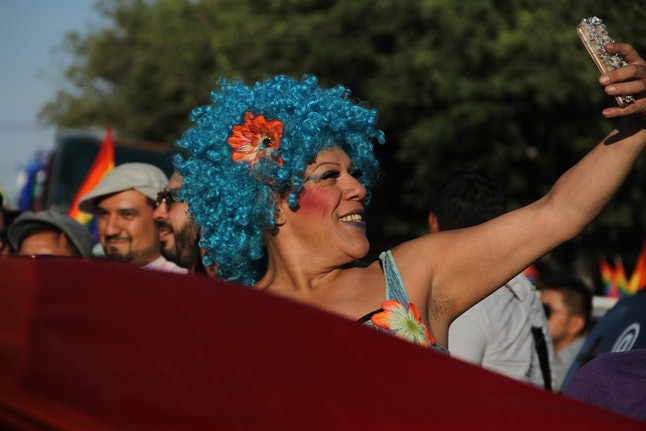 People at the the Lesbian, Gay, Bisexual, Transsexual and Transgender Pride parade in Ciudad Juarez, Mexico