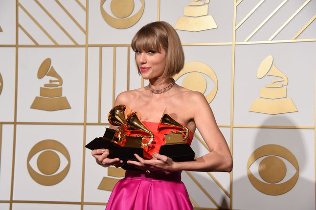 Taylor Swift poses in the press room at the The 58th Grammy Awards at Staples Center on Feb. 15, 2016 in Los Angeles.
