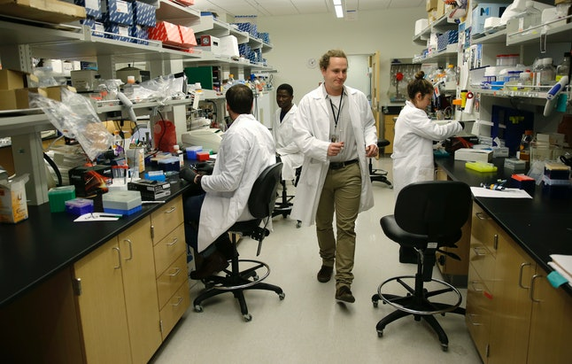 Researchers are pictured in an immunology lab at the University of Washington's medical campus.