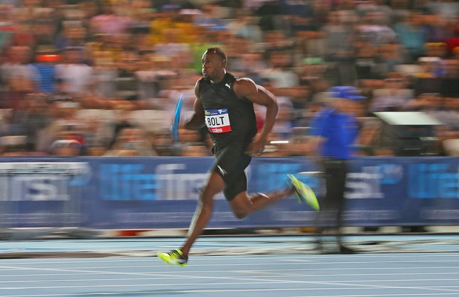 Usain Bolt mid-competition.