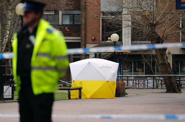 A police tent covers the bench where Sergei Skripal and his daughter were poisoned in March.