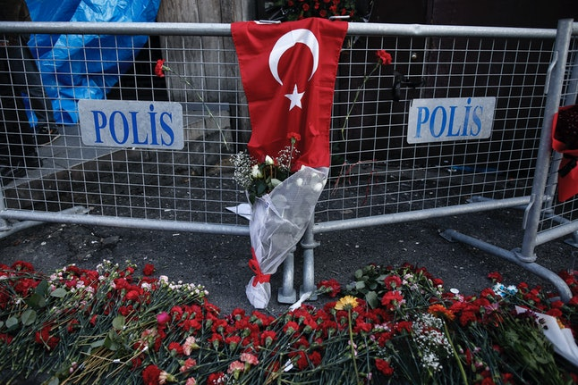 Flowers near the scene of the nightclub attack