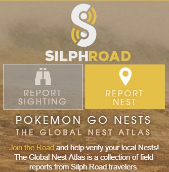 Registered Silph Road members use this menu to add to the Global Nest Atlas