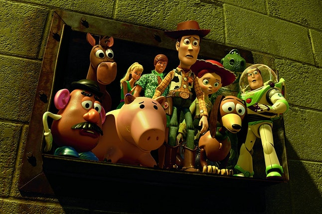 The cast of toys contemplate a dark fate in 'Toy Story 3'.