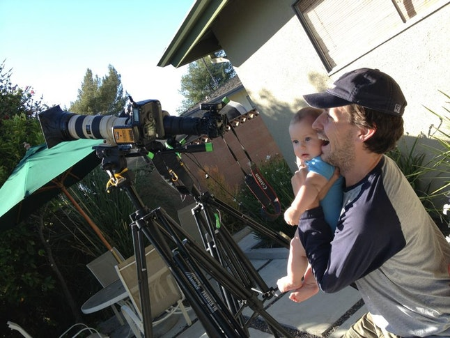 Hartman preparing to document the annular solar eclipse in Los Angeles on May 20, 2012.