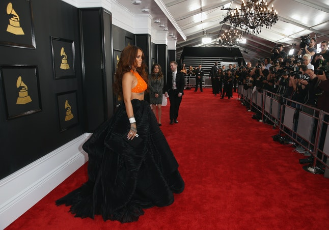 Rihanna arriving at the 59th annual Grammy awards.