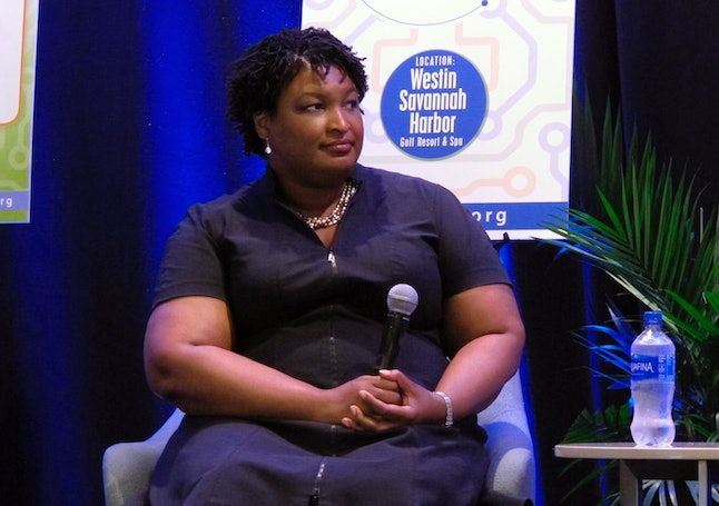Stacey Abrams, the Democratic nominee for Georgia governor, answers questions Friday, Sept. 21, during an appearance at a conference of the Georgia Economic Developers Association in Savannah, Georgia.