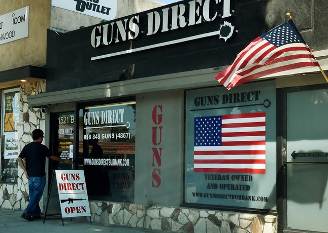 The outside of a gun store in Los Angeles