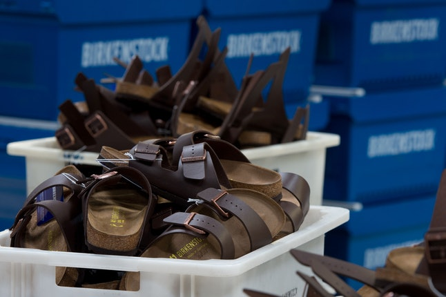 Birkenstock shoes at a factory in Germany