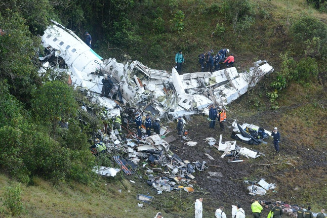 An image of the plane that crashed in Colombia, which carried 81 passengers, 22 of whom were players from the Chapecoense football club