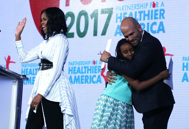 Michelle Obama (left) at a health summit in May