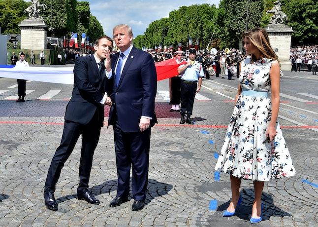 (From left): Emmanuel Macron, Melania Trump's husband and Melania Trump