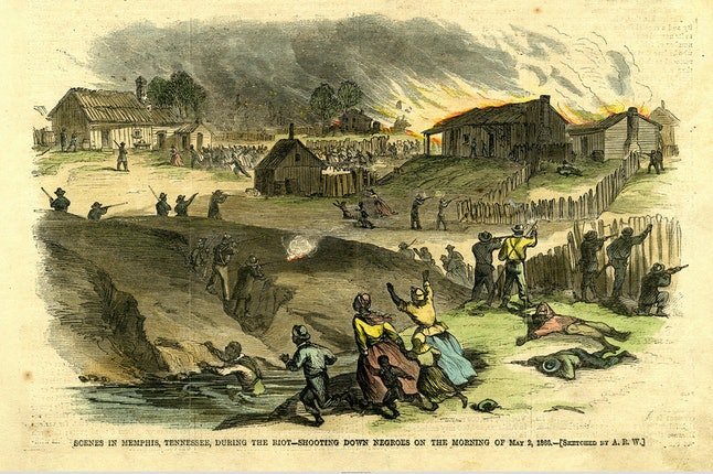 Scene from the Memphis riots in 1866. Thompson testified before a U.S. congressional committee after these riots.