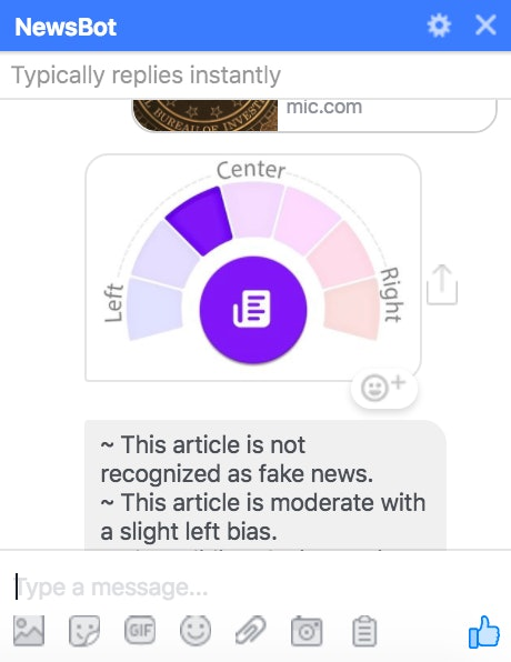 A typical chat with NewsBot shows you whether the article you send it skews right or left. It will also tell you whether what you've sent is fake news.