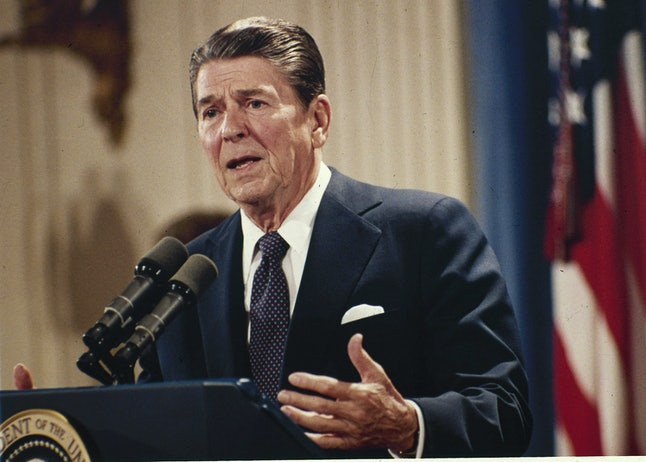 In this Oct. 19, 1983 file photo, President Ronald Reagan speaks during a news conference at the White House in Washington.