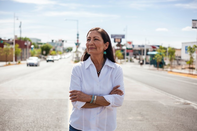 Deb Haaland poses for a portrait in Albuquerque, New Mexico.
