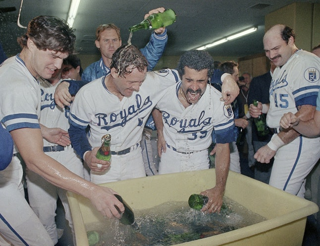 The Royals celebrate after winning the 1985 World Series