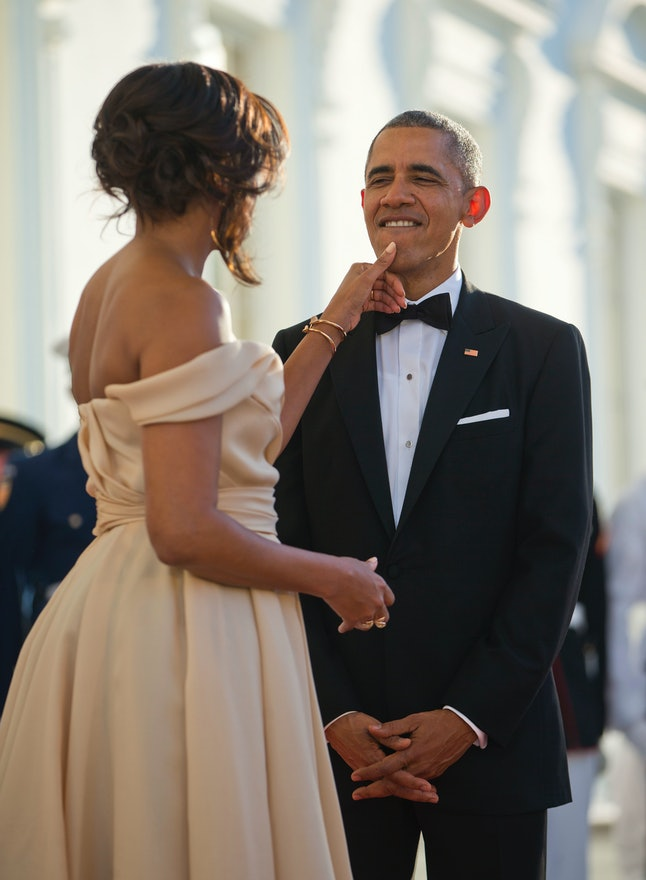 Michelle Obama and Barack Obama as they wait for Nordic leaders at a state dinner in May 2016