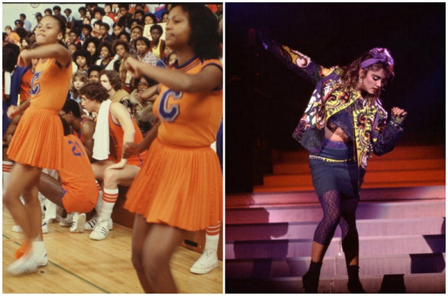 Cheerleaders in 1979 and Madonna in 1985.