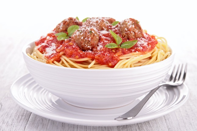 Spaghetti and meatballs, so American