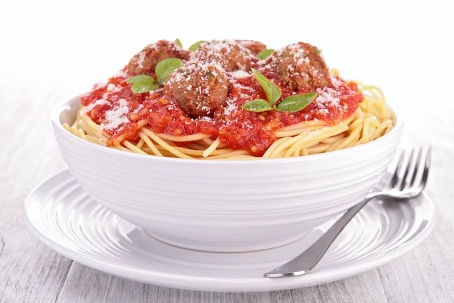 Spaghetti and meatballs, so American