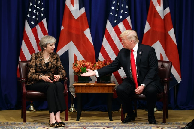 President Donald Trump meets with British Prime Minister Theresa May in New York City in September.