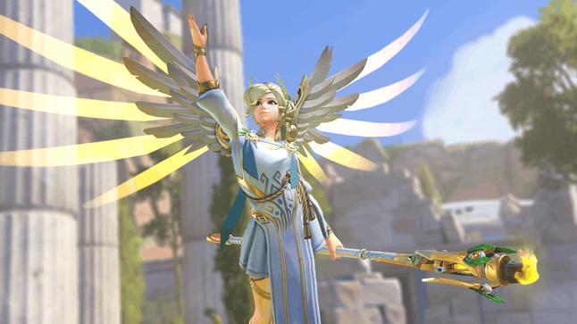 """Mercy's Summer Games """"Winged Victory"""" skin"""