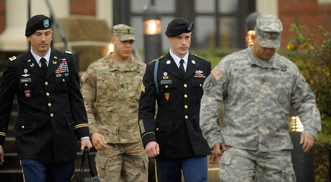 Bowe Bergdahl leaves a courthouse after attending his first hearing in Army Court Martial at Fort Bragg, North Carolina.