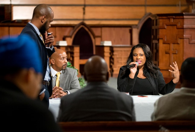 Mary Pat Hector, right, speaks during a town hall at Ebenezer Baptist Church in Atlanta, in 2014.
