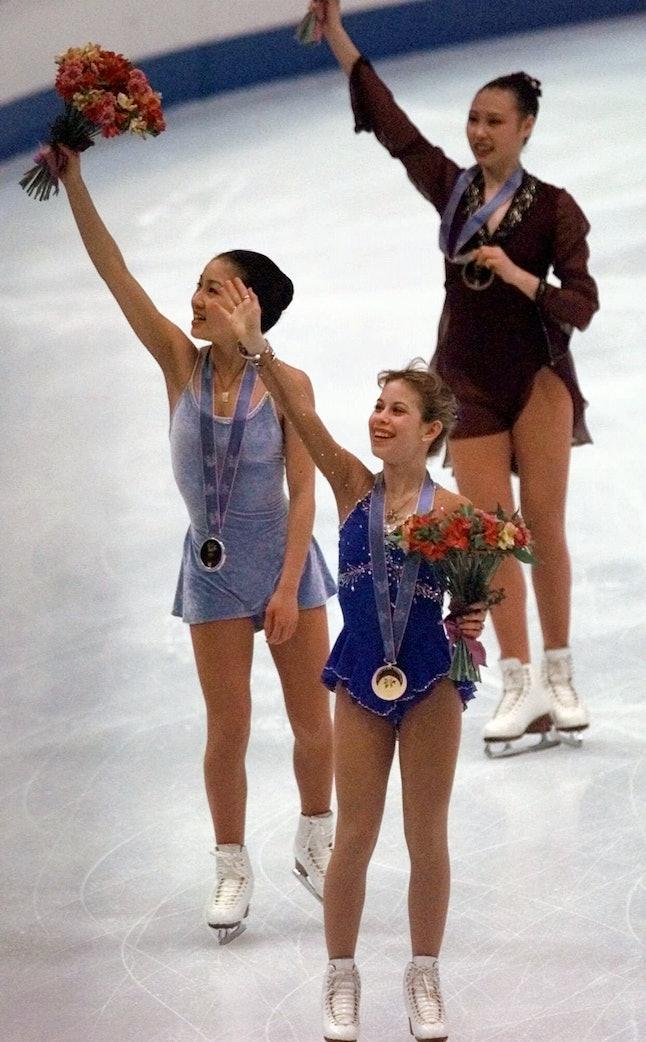 Tara Lipinski and Michelle Kwan, left, at the 1998 Olympics